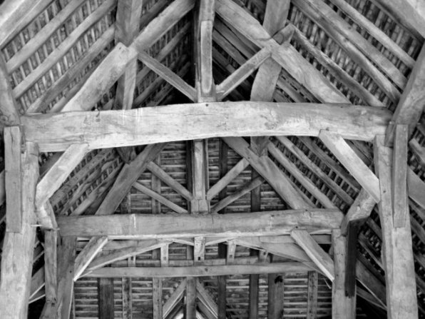 old barn roof from inside